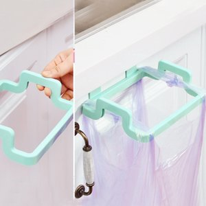 Wholesale- Portable Garbage Bag Holder Hanging Kitchen Door Back Type Clip Stand Household Cabinet Cupboard Washcloth Hanger