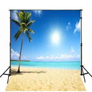 10x10ft Tropical Beach Themed Telón de fondo de vinilo Cielo azul Nubes blancas Naturaleza Paisaje Vacaciones de verano Fotografía de la boda Fondos de estudio