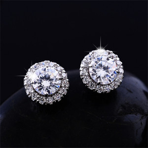 Nova Chegada Melhores Amigos 18k Branco Ringos Banhados Ouro Big Diamante Brincos para Mulheres Branco Zircon Brincos