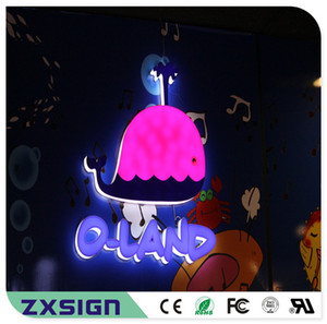 Outdoor advertising front lit & side lit full acrylic led sign letters, custom acrylic store sign, company coffee shop restaurant logo signs