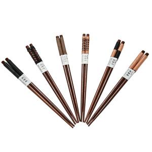 Al por mayor- 1 par de palillos Theaceae duraderos japoneses palillos de madera natural Value Pack vajilla de cocina 6 estilos