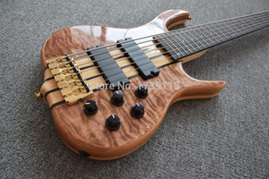 Custom Shop Ken Smith 6 Strings Natur gesteppte Maple Top Electric Bass Gutiar Palisander Maple Sandwich Hals, Aktive Wires 9V Batterie Box