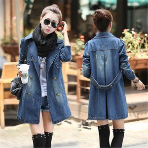 Wholesale- New Fashion Women Jacket Casual Slim Denim Long Jaqueta Ladies Coat Casaso Fenimino Jeans Full Sleeve Korea Style Hot Plus Size