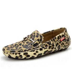 Erkekler Casual Ayakkabı On Gerçek Deri Makosenler Rahat Kayma loafer'lar Erkekler Sürüş Ayakkabı Flats yazdır Leopard 5 # 20 / 20D50