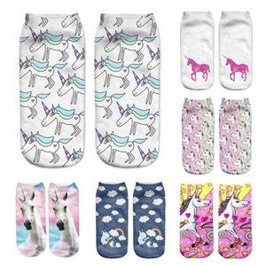 Atacado-Unicorn Impressão 3D Meias Mulheres Kawaii Licorne Tornozelo Calcetines Femme Chaussette Mujer Bonito Arte Meias Para Feminino A0
