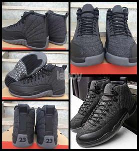 2018 Yeni 12 Yün Erkek Basketbol Ayakkabı 12s Yün Gri Siyah Erkek 12s Spor Ayakkabı Yüksek Kalite Zapatos Eğitmenler Spor ayakkabılar