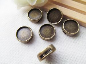 Pulsera y collar redondos de bronce antiguo con cuentas redondas, Bisel de bandeja con marco base, para cabujón de 12 mm / Cuadro / camafeo