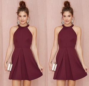 Sexy Short Cocktail Party Dresses 2017 Halter Backless Burgundy A Line Above Knee Length Prom Homecoming Gowns Custom Made Women Formal Wear