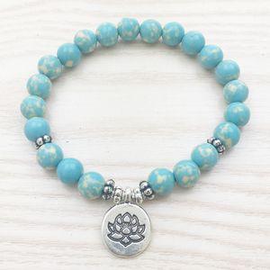 SN1026 дизайнер Аква яшма браслет лотоса браслет синий браслет исцеление браслет женщины браслет девушка браслет лакомство каждый день