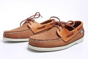 Hombres al por mayor de gamuza de cuero genuino sider mocasines barco zapatos para hombre azul de gamuza mocasines hechos a mano zapatos de cuero zapatos casuales tamaño grande