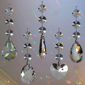 5 pcs Lustres de Cristal Da Lâmpada Prismas Parte Pendurado Pingentes de Lágrima de Vidro com Octógono Beads Anéis de Salto de Prata Conector