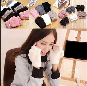 Winter warme Männer Frauen Handschuhe niedlichen halben Finger drehen Flip Top Mitten Handschuhe Winter 6 Farbe KKA3317