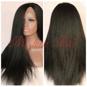Yaki Straight Synthétique Avant de Lacet Perruques Light Yaki Italien Synthétique Lace Front Perruques / Full Lace Wig Résistant À La Chaleur Sans Colle Pour Femmes Noires