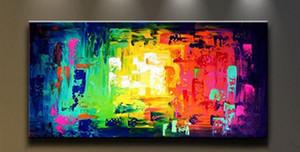 Emoldurado Colorido, Pure Pintado À Mão Decoração Da Parede Moderna Da Arte Abstrata Pintura A Óleo Sobre Tela de Lona de Alta Qualidade. Multi tamanhos personalizados Ab072 luci
