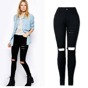 Venta al por mayor- Otoño Jeans flaco Mujer Mediados de cintura Jeans Femme Estiramiento Pantalones negros de las mujeres Denim Jeans Planchas Tallas grandes Envío gratis