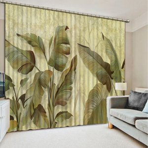 New Custom 3D Beautiful green leaf custom curtain fashion decor home decoration for bedroom