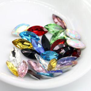 17x32mm Navette 크리스탈 멋진 석기 유리 보석 쥬얼리 액세서리 장식 보석 50pcs / bag (10 다른 색상을 사용할 수)