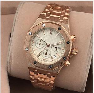 Todos Subdials Trabalho AAA Mens Relógios de Aço Inoxidável Relógios De Pulso de Quartzo Cronômetro Relógio de Luxo Top Relogios de Marca para homens relojes Melhor Presente