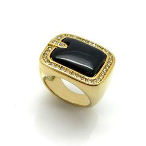 Paslanmaz çelik döküm marka altın yüzük yarı değerli taş titanyum yüzük ile kakma