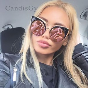 CandisGY Round Oversized Stylish Women Designer di marca Pink Mirror Cateye Sunglasses Party Vintage Lady Occhiali da sole