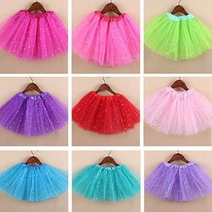 Crianças meninas faísca brilho tutu dress bebê crianças lantejoulas estrelas de dança do laço de balé tule tutu saia princesa pettiskirts hh-a27
