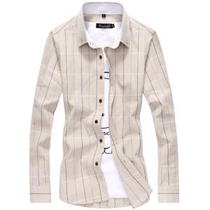 Высокое качество мужская классическая клетчатая рубашка с длинным рукавом платье рубашка мужчины бизнес формальные рубашки хаки Мужская одежда