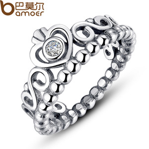 Sıcak Satış 925 Gümüş Taç Alyanslar Kadınlar Pandora Stil Prenses Halkalar Tiara Taç Düğün Nişan yüzüğü İçin Lady Moda Takı için
