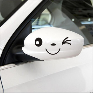 2016 New Arrival Lovely Smile Face 3D Decal Cartoon Sticker Personalized Rear Mirror Reflective Sticker Car Styling 4 Colors For Optional