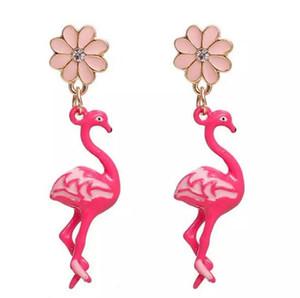 Ücretsiz kargo! Küpe Altın Renk Pembe Flamingo Çiçek Temizle Rhinestone Emaye 47 * 11mm Mesaj / Tel Boyutu: (21 ölçer), 1 Çift noel