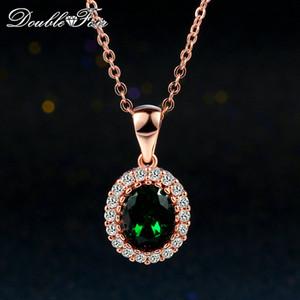Verde smeraldo d'imitazione elegante pendenti delle collane di oro rosa 18 carati Pated verde di cristallo di modo di nozze di diamante della CZ Gioielli Per Wonem / ragazze DFN247