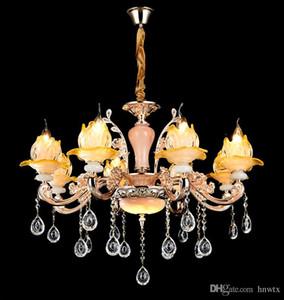 سبائك الزنك الزجاج قلادة مصابيح الحديثة led كريستال الثريا زهرة شكل مصباح الظل remot التبديل الديكور ضوء غرفة المعيشة