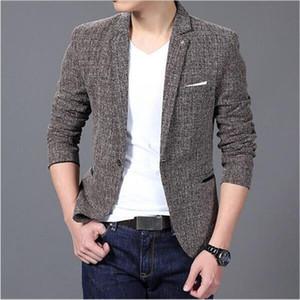 Atacado- AILOOGE 2016 New frete grátis Casual Blazer Men Moda Marca Jacket Suits Masculino Blazer Brasão Botão Homens paletó