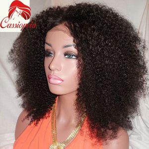 Parrucca Afro Kinky Lace 16inch 180% Densità Glueless U Parte Parrucche Afro Kinky Ricci in azione Brasiliana Afro Kinky Ricci U Parte In vendita