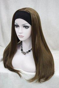 Hivision 2017 nueva moda peluca 3/4 con diademas pelucas de cabello medio dorado claro marrón mujer sintética