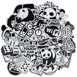 50 pcs Random black and white punk anime stickers home decor sticker on luggage motor bike skateboard wall decals stickers for kids