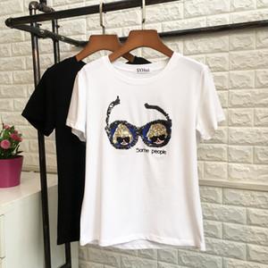 Las mujeres de moda las niñas de manga corta de las lentejuelas de los vidrios de impresión YQ Ocasional Ocio Fittness la blusa de las camisetas remata el envío gratuito
