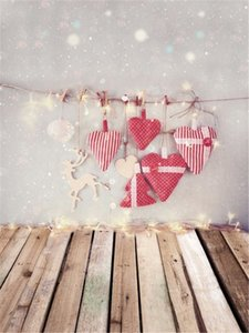 Buon Natale Neonato Merry Christmas Background con luci Amore cuore Decori Polka Dots Vintage Backdrop Wood Planks Floor