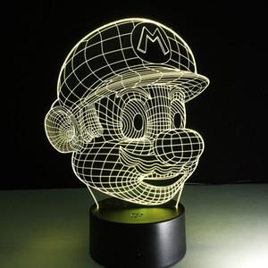 Super Mario I Love You 3D Lámpara óptica Luz nocturna DC 5V Carga USB 5ª batería Dropshipping al por mayor Envío gratuito