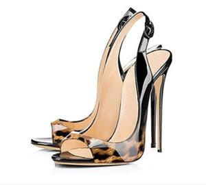2017 zapatos de tacón de leopardo de fiesta Zapatos Peep toe Mujeres Bombas color del gradiente Bombas zapatos de vestir talón delgado 12 cm talón