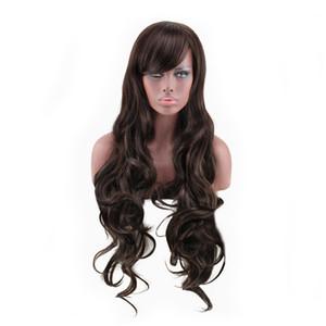 WoodFestival sexy femmes perruque brune long bouclés de fibres synthétiques perruques pour les femmes noires vague profonde cheveux perruques naturel pas cher perruque de cheveux 85 cm