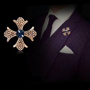 Al por mayor-Hombres de moda Vintage Male Brooch Cross Traje Pins Crystal Rhinestone Collar Corsage Shirt Badge Regalo de cumpleaños para el novio