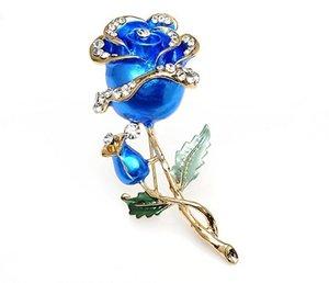 Hot Garment Dress Accessories Wedding Bridal Luxury Rhinestone Flower Rose Enamel Brooch Pin