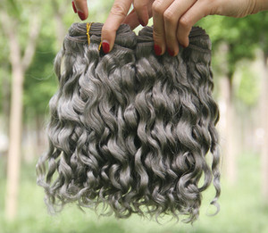 Silver Grey Deep Curly Human Hair Extensions Grey Brazilian Human Hair Weaves Gray Deep Wave Curly Extensions 3pcs Lot New Arrive For Sale