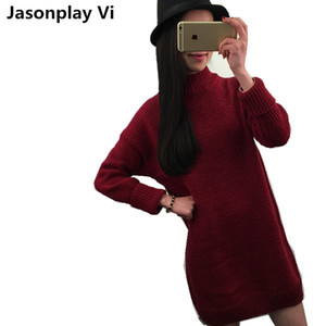 Wholesale- Women sweater 2016 New Arrivals Fashion Long section Womens Pullover Autumn Winter dress high quality Warm Pull Femme XSS11