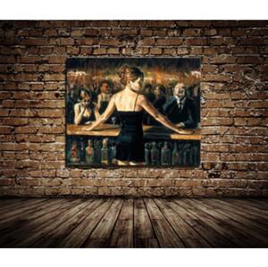 Gerahmte Fabian Perez Bar Girl Barkeeper handbemalte Impressionismus Portrait Art Ölgemälde, auf hochwertigem Canvas Home Decor Multi Größen