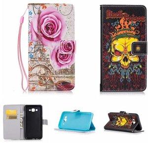 Per Custodia Samsung Galaxy J7 J5 J3 S6 A310 A7 A3 G360 Huawei II cinturino Y5 Raccoglitore di cuoio del basamento della carta del fiore TPU del fumetto di copertura Denti Phone