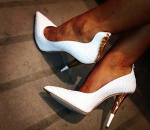 Venta caliente sexy blanco / negro tacones altos de cuero de serpiente de oro para las mujeres zapatos de fiesta cremallera punta estrecha bombas mujeres moda tacones altos