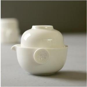 Fabrika doğrudan satış beyaz porselen seyahat çay seti tek pot ve bir fincan oolong çay T106 içmek kolay