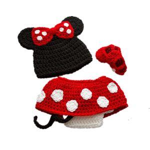 Costume de bébé fille adorable dessin animé souris, tenues pour animaux tricotés à la main, bonnet, robe et chaussures ensemble, costume d'Halloween, accessoire de photo pour bébé