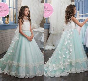2017 Menta Verde 3D Borboleta Floral Apliques Menina Pageant Vestidos de Renda Tule Até O Chão Flor Menina Vestido De Miúdos Pequenos Crianças Vestido Para O Casamento